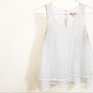 Tank Blouse with Lace Overlay